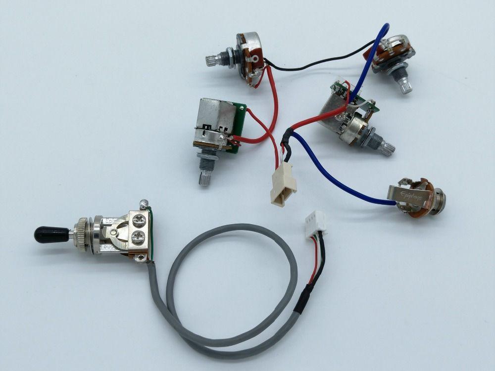 Gitarre Pickups Kabelbaum Push-Pull-Schalter Potentiometer 1 Kippschalter + 4 Töpfe + Jack