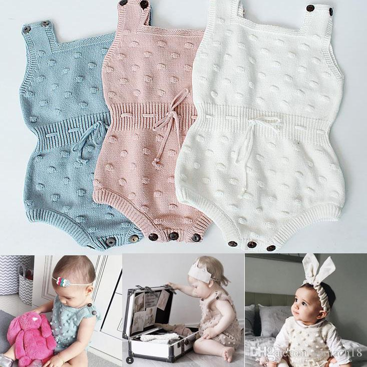 Ins Spring Autumn Infant Baby Knitted Rompers Boys Girls Knitwear Overalls Sweater Romper Children Toddlers Climb Clothes 3 Colors 3056