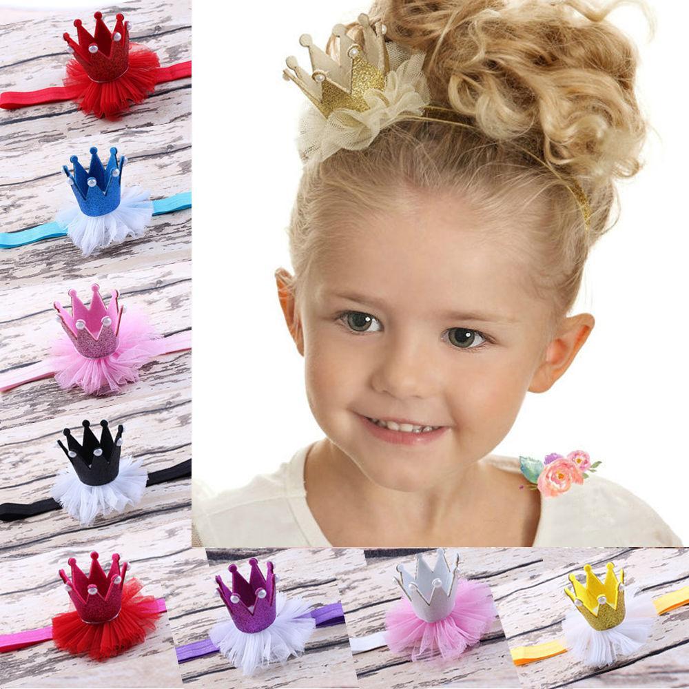 Al por mayor-2016 Hot Fashion Lovely Baby Girl Boy Princess Queen Crown Pearl Tiara Hair Band diadema de encaje cumpleaños fiesta de Navidad Headwear