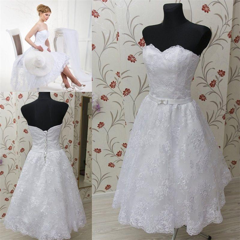 Vestidos do casamento do laço do comprimento do chá do vintage 2021 com saia completa do laço com cetim Sweetheart Imagem real Lace-up Vestido de casamento branco de volta