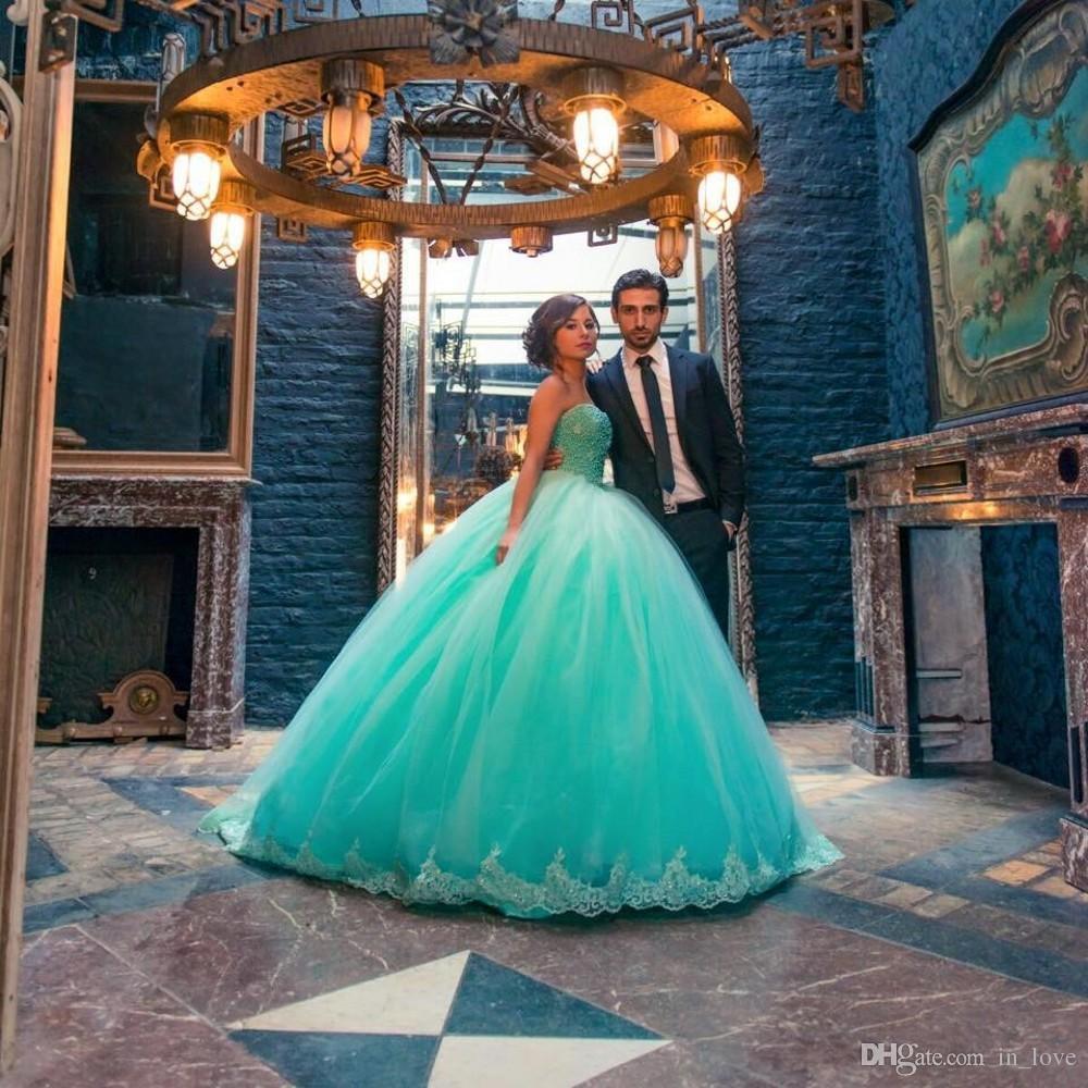 Türkis Brautkleider Ballkleid Prinzessin Trägerlosen Diamanten Spitze Tüll Bodenlangen Neue Brautkleider Benutzerdefinierte Größe