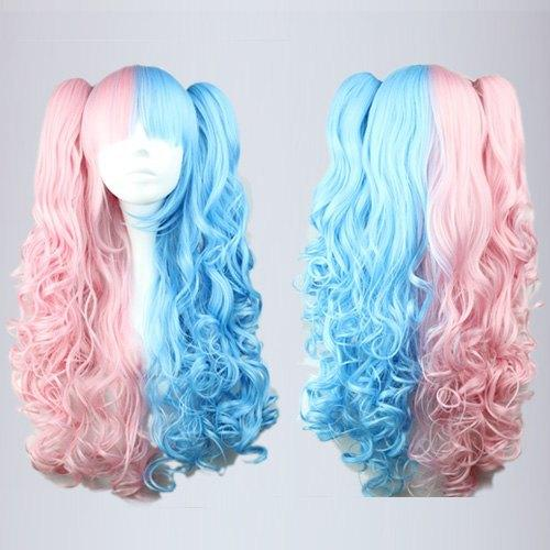 MCOSER High Quality Synthetic Pink Blue Mixed 70cm Long Wave Braided Lolita Two Tone Lace Front Wig
