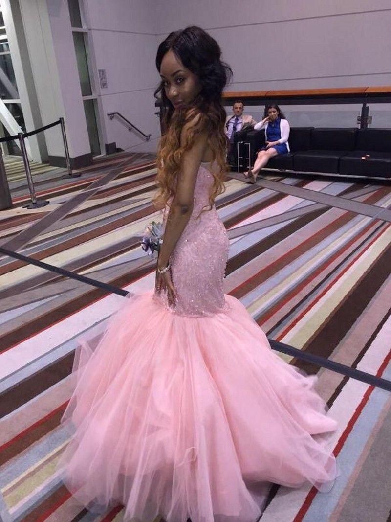Compre 2017 Fabuloso Rosa Vestidos De Baile Sirena Joya Escote Tul ...