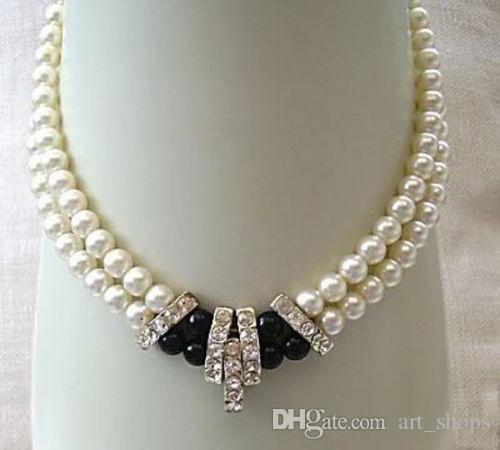 2017 nouveau collier en agate blanche à motif de perles de culture Akoya 2 rangs