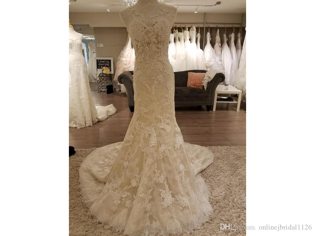 Mermaid Wedding Dresses Fit and Flare Sheer Illusion Luxurious Lace and Floral Lace Appliques Sleeveless V Back COR-598 Noiva Renda Vintage