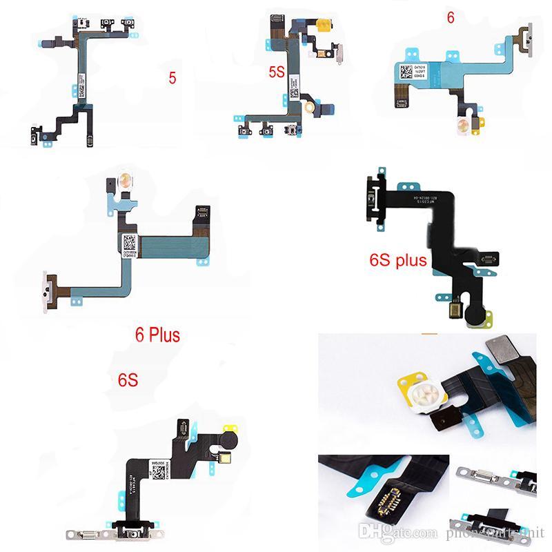 Test Güç anahtarı düğmesi flex kablo iphone 5G 5 S 6 6 artı 6 S 6 Splus 7G 7 Artı ON / OFF Ses Dilsiz esnek kablo değiştirme Bölüm