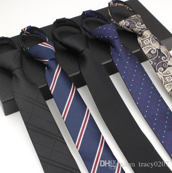 Zipper facile tirer cravate mens cravate cravates en soie d'affaires classique classique cravate de mariage formel cravate 6cm accessoires mode robe chemise rayée