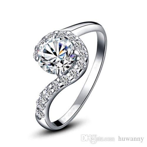 Silver Rings Jewelry Hot Sale CZ diamond Wedding Finger Rings for Women Girl Party Wholesale Free Shipping - 0678WR