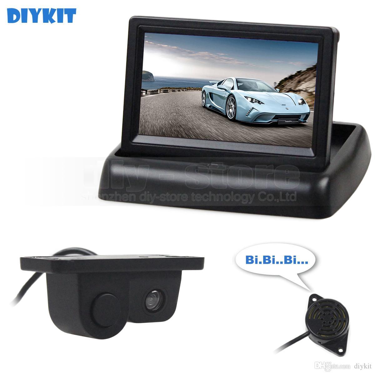 DIYKIT 4.3inch Rear View Monitor Car Monitor + Video Parking Radar Sensor Car Camera Parking System Kit 2 In 1