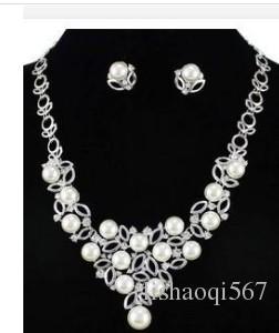 серьги ожерелья венчания невесты венчания белого цвета кристаллические (88) dgd