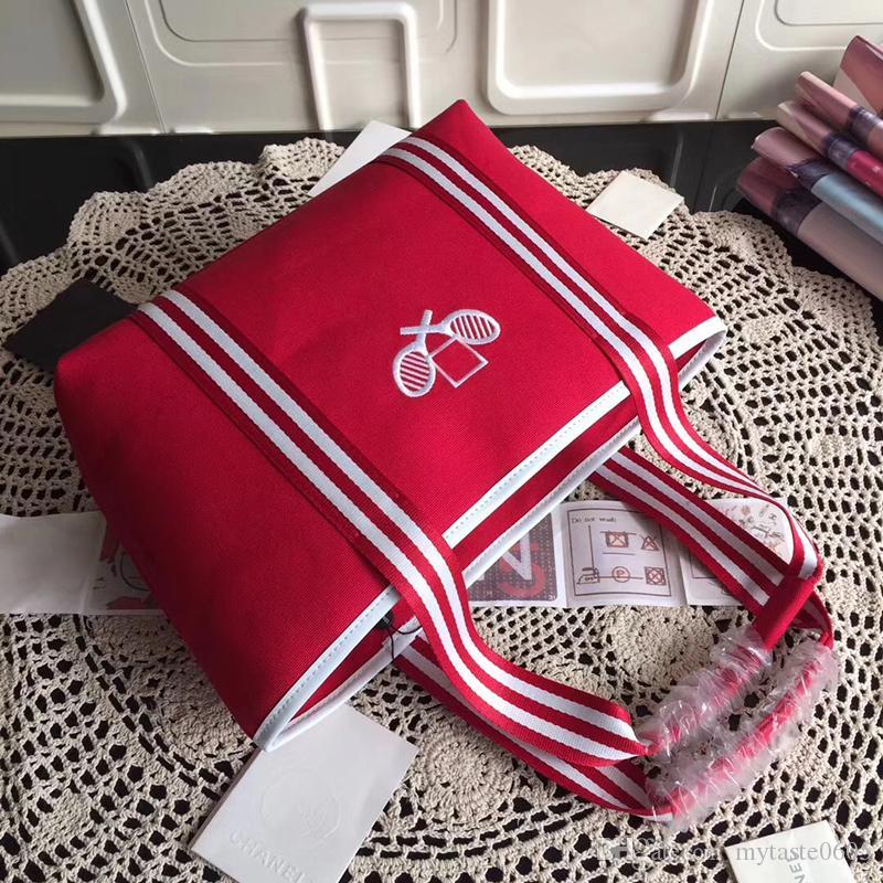 Fashional spalla 33cm color singolo tennis ricamo racchetta da tennis rosso designer sacchetto di alta qualità sacchetto di tela TPVQK