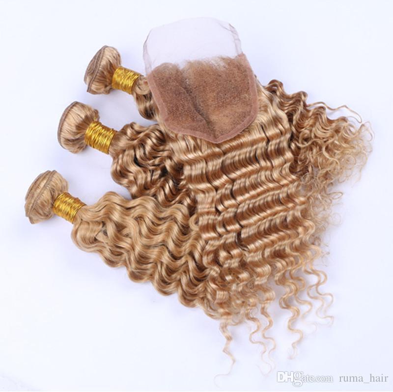 İşlenmemiş İnsan Bal Sarışın Saç Paketler ile Dantel Kapatma 4x4 Free Orta Üç Parça Hint Derin Dalga Saç Uzatma Dantel Kapanış