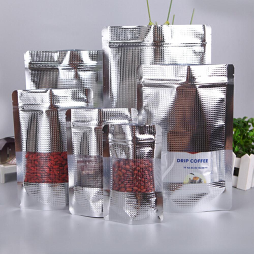 18x26cm Clear Window Grain Metallic Mylar Self Seal Storage Food Packing Pouch Translucent Aluminum Foil Ziplock Bag 20Pcs/Lot