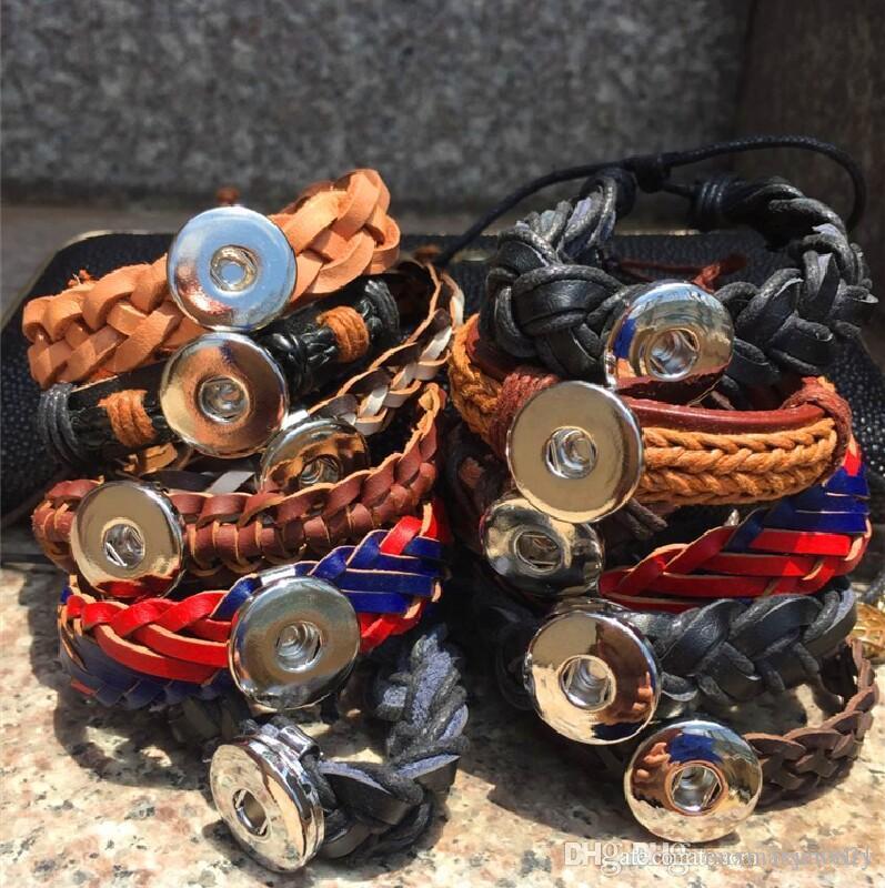 I nuovi 15 pezzi mescolano i braccialetti del polsino dell'annata di cuoio dei fascini del pezzo di chiusura a bottone dello zenzero delle donne assortiti dello zenzero 18mm vendita calda all'ingrosso