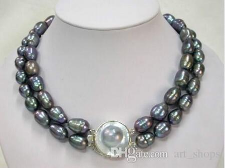 """Collier de perles noires tahitiennes naturelles de 11 Rangs 11 """"-18"""" LL002"""