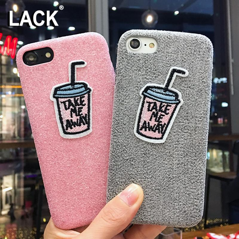 Funny Diy Cartoon Embroidery Case For Iphone 7 Case Warm Fuzzy Cover Drinks Bottle Letter Phone Cases For Iphone7 6 6s Plus Hard Cell Phone Cases