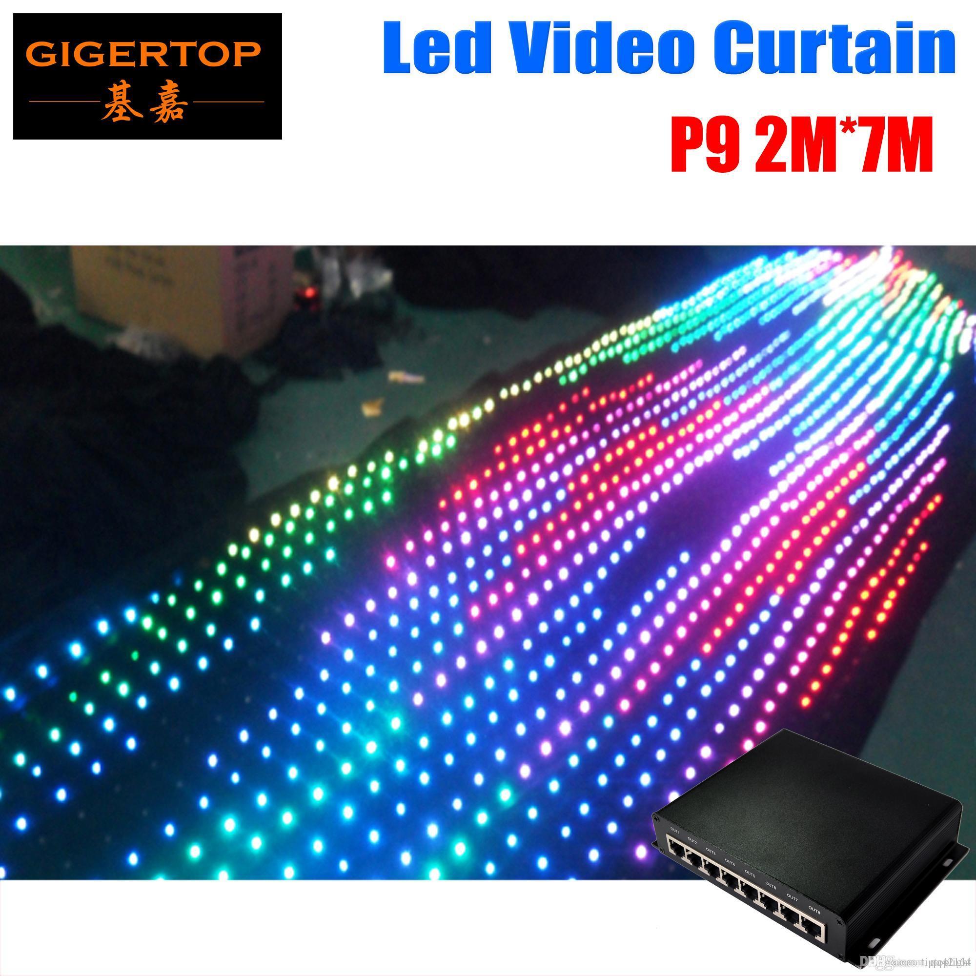 80 종류의 패턴 웨딩 무대 배경으로 P9 2M * 7M PC 모드 LED 비디오 커튼 DJ 무대 배경 색 LED 커튼