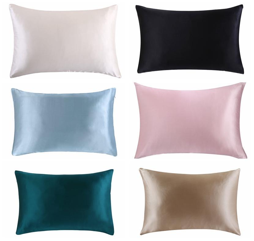 بالجملة، شحن مجاني 100٪ طبيعة التوت الحرير وسادة وسادة وسادة سحاب الحال بالنسبة صحي القياسي متعدد الألوان الملكة الملك