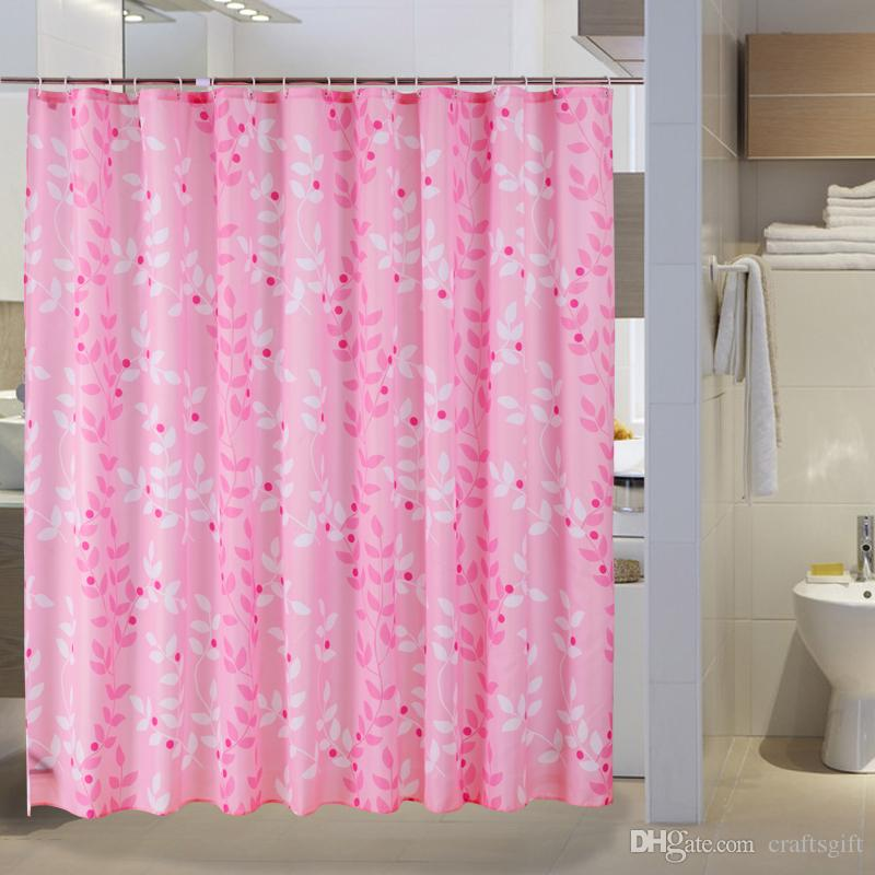 New Pink Leaves Shower Curtains Thicken Waterproof Mildewproof Bath Decoration Curtain Bathroom Products Polyester Fabric Cortina Ducha
