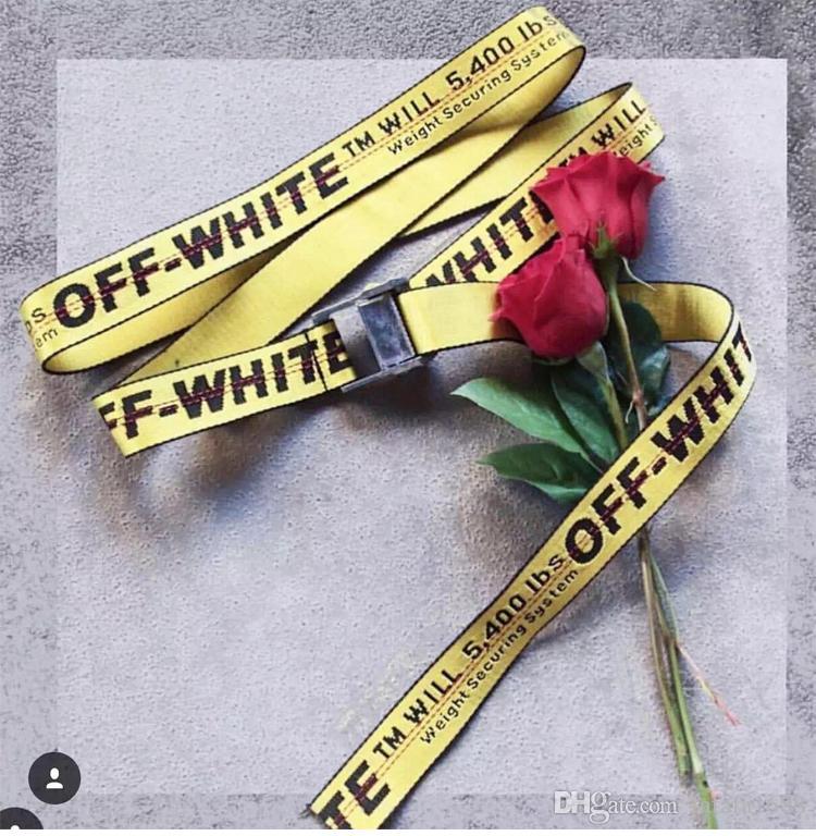 selección premium b7a00 c4c8e Compre Off White Virgil Abloh Cinturones Hombres Kanye Oeste Amarillo  Bordado Hip Hop Lona Correa Mujeres Harajuku Punk Riem Cinturones Femme A  $17.26 ...