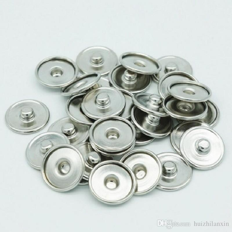 50PCS Base Accessories Round Silver Tone Cabochon Setting For 12MM/18MM Snap Button