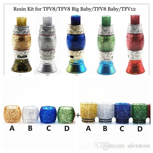 Replacement Shiny Resin Kit Set with Resin Tube Caps and Drip Tip for TFV8 Big Baby Prince Beast Tank Vape 5 Colors