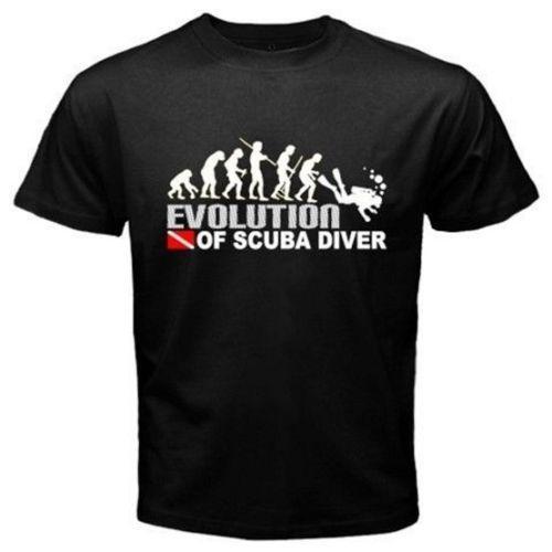 All'ingrosso- EVOLUZIONE DI SCUBA DIVER dive down flag Dive funny Black T-Shirt Mens 2015 Nuovi disegni Summer Style T Shirt Top Tees Euro Size