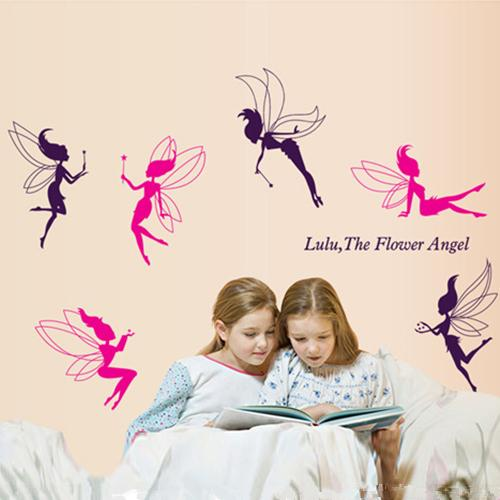 Pink Purple Color Flower Fairy wall sticker Living Room Bedroom Clothing Store Dance Classroom Creative art decals mural Stickers