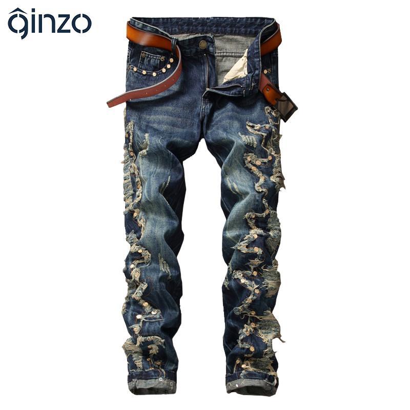 Atacado- moda masculina rebite remendo magro reta denim jeans Casual patchwork furos rasgado calças calças compridas