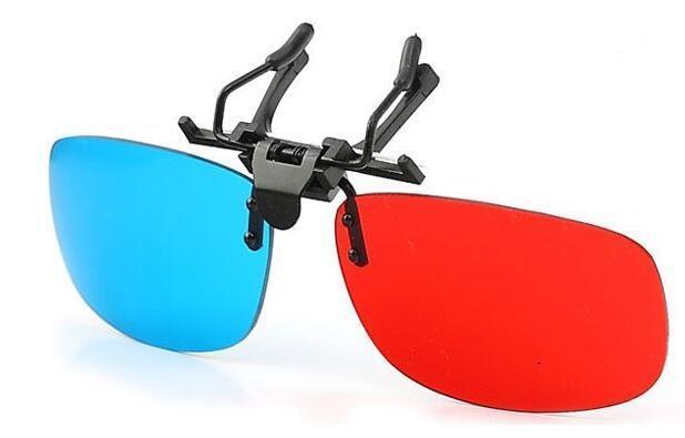 500pcs / lot clip blu ciano blu rosso sugli occhiali della struttura di miopia per i giochi dei film 3-D liberano il trasporto 0001