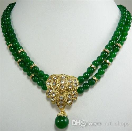 Nouveau collier pendentif émeraude vert charmant 2Row8mm 18-19 ''