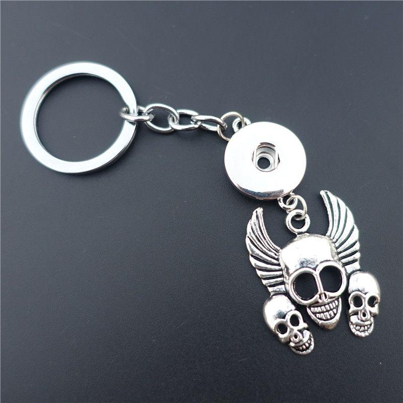 12 pçs / lote Vintage Noosa Pedaços de Metal Gengibre 18mm Botões de Pressão Chave Anéis 3 Crânios KeyChains Homens Jóias