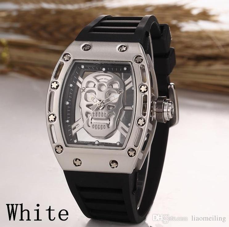 2017 watch Fashion Skeleton Watches men Skull sport quartz watch 2