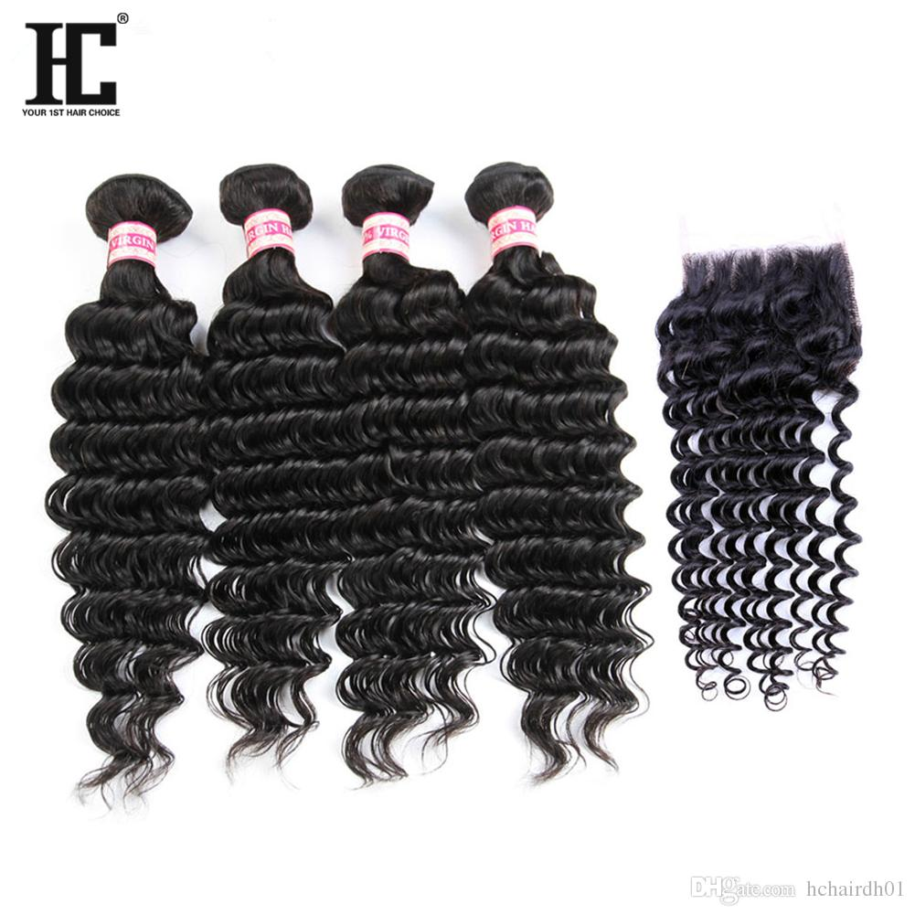 Brazilian Deep Wave Virgin Hair With Closure 4 Bundles With Closure Brazilian Virgin Hair With Free Part Closure HC Human Hair Extensions