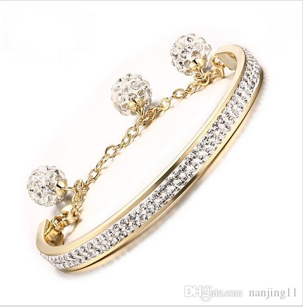 Braccialetto in oro placcato Braccialetto Doppio gioielli in acciaio inox di cristallo lucido crudo BR-223