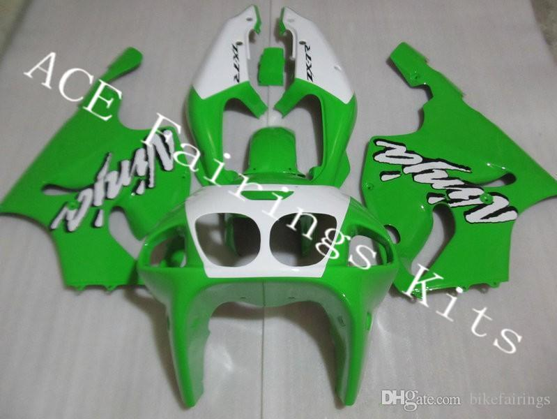 Three free beautiful gift new high quality ABS fairing plates for Kawasaki Ninja ZX-7R 1996-2003 ZX7R Very nice white and green a10