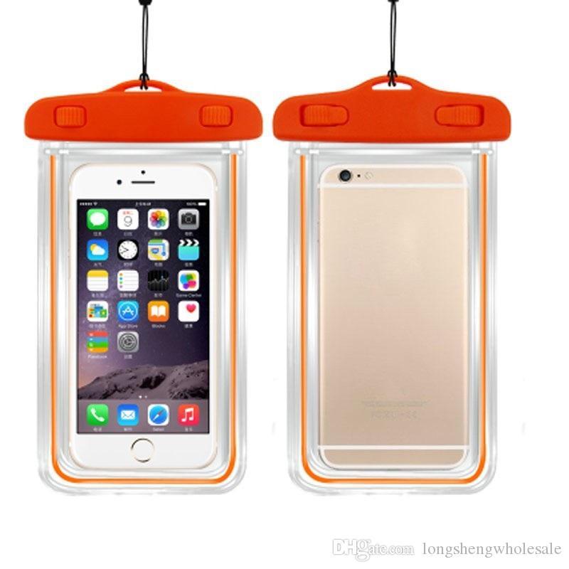 100% versiegelte Fluoreszenz leuchtende transparente wasserdichte Tasche Unterwasser-Tasche für universelle Smartphone Android-Handy-Dhl-frei