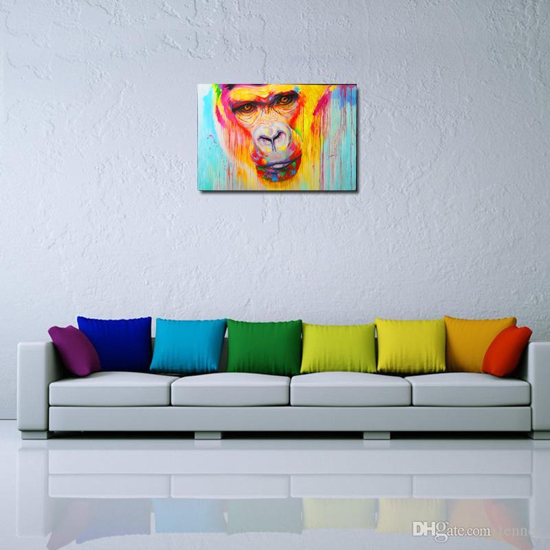 graffiti painting ape gorilla rainbow street art oil painting print on canvas wall decor canvas poster - Canvas Wall Decor
