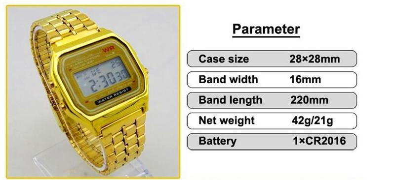 f 91w led digital watches men women unisex wristwatch silver gold customer satisfaction