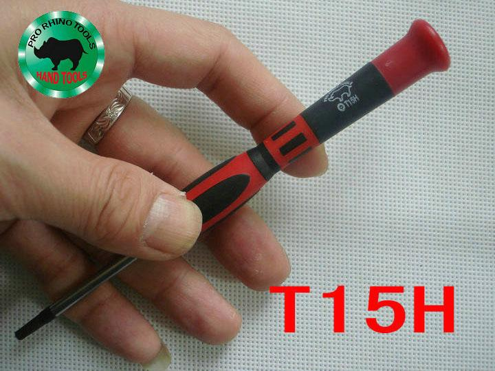 Japan RHINO Brand DT-T15H T15 Torx Middle Hole Screwdriver High Carbon Steel Magnetic Precision Durable Repair Tools