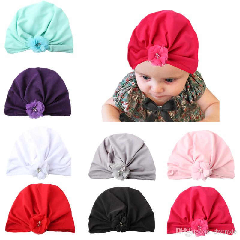 INS Baby Flower Hat Bunny Ear Caps Europe Style Turban Knot Head Wraps Hats 8 Colors Infant India Hats Kids Winter Beanie