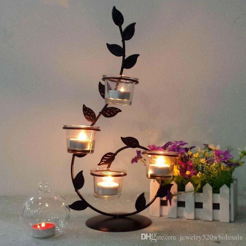 Ethnic Roses Candle Holders Romantic Candlelight Dinner, Wrought Iron Candlestick