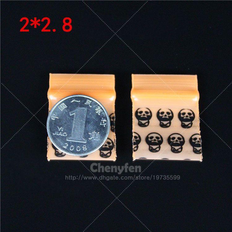 """Drucken Schädel wiederverschließbare Plastiktüten 500pcs 0.8 """"x1.1"""" Mini-Ziplock-Taschen 2x2.8cm Wiederverschließbare Micro Nette gedruckte Zip-Lock Baggies 8mil"""