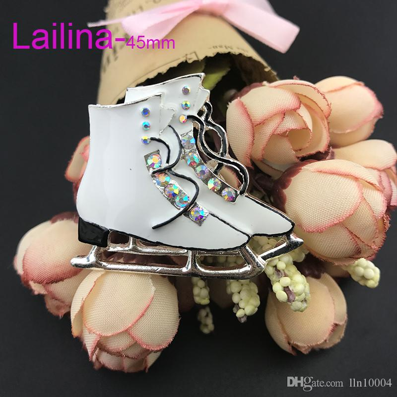 50pcs/lot free shipping zinc alloy hot sale high quality 45mm skating shoes rhinestone enamel skating shoes brooch pin