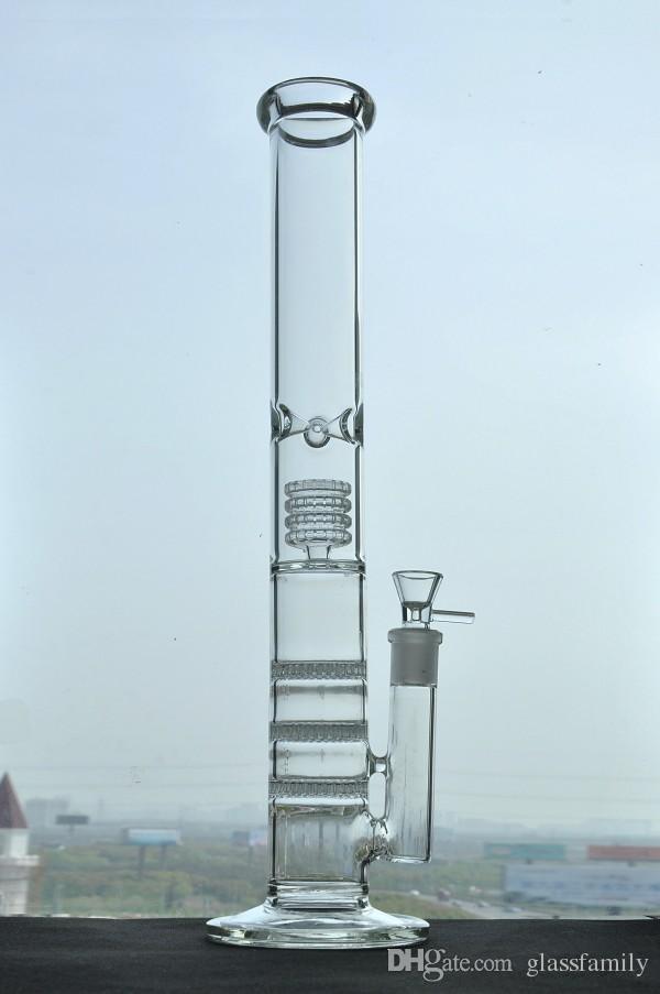 18mm ortak ve 17in yükseklik düz kalın cam su boruları üç petek percolator ile büyük bong
