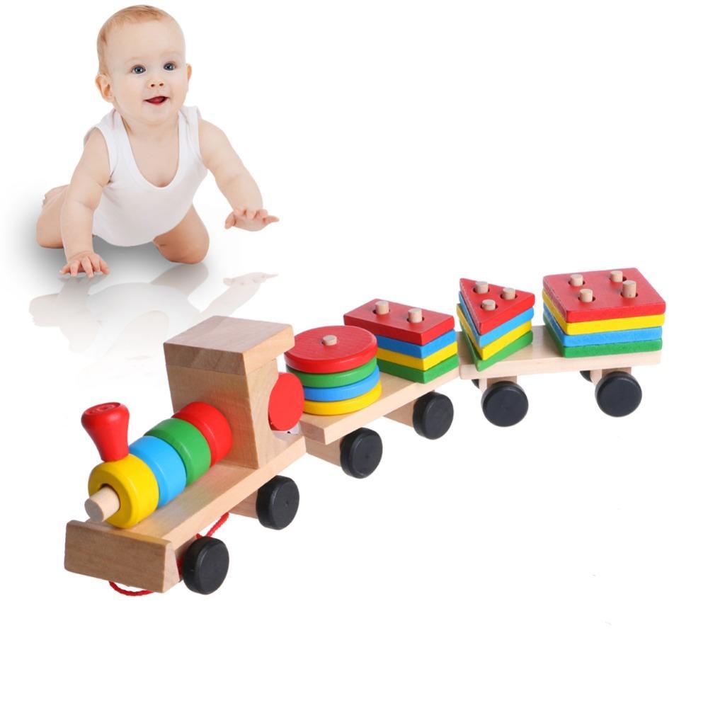 Train Toys Truck Wooden Geometric Blocks Baby Educational Developmental Toy FA