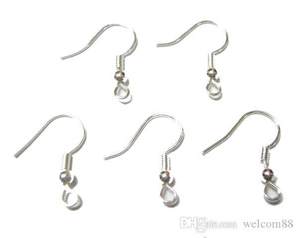200PCS / Lot Silverpläterade örhänge Hakar Findings Komponenter för DIY Craft Smycken 15mm W25