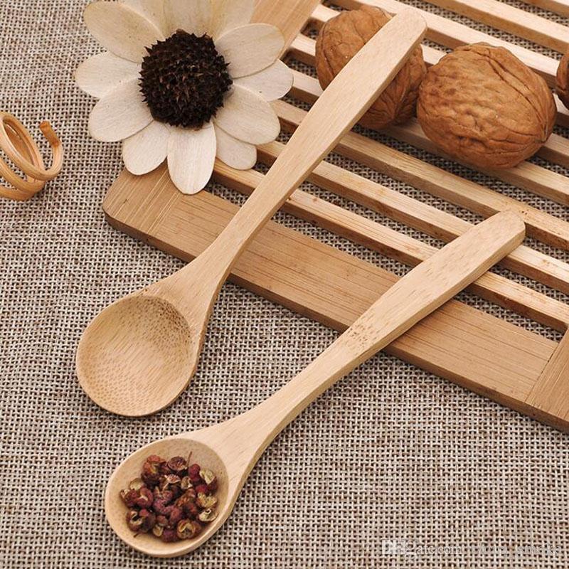 13 cm Cuchara de té de madera Alimentar Pequeño Niño de madera Bebé Niño Cuchara de seguridad Cuchara de café Cucharas de bebé