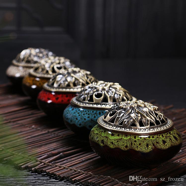 Celadon ceramic Buddha incense base copper alloy antique incense burner incense sandalwood Free Shipping