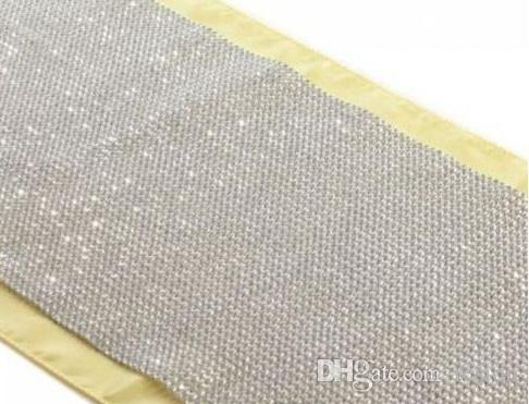 Wholesale New Diamond Mesh Table Runner Wedding Party Bling Decoration 50  Rows 24cm Silver Rhinestone Wrap ...